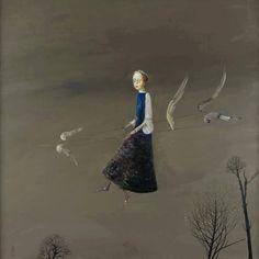 Artwork oil , 88 x 85 cm. by Stefan Caltia born 1942 Magic Realism, Fun Illustration, Old Paintings, Art Database, Riga, Rhode Island, Musical, Life Is Beautiful, Pet Birds