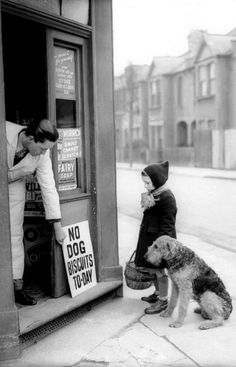 """you takin' that sign in or puttin' it outside mister?"" ""Outside"" ""What's it say mister? He don't read. Me neither. Ma says, you got any dog biscuits?"" No dog biscuits today • vintage photo via Éber William on Flickr / poor pup :( / cute pet photos"