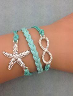 3pcs infinity handmade bracelet.metal charm,wax cord,leather bracelet ,fashionable jewerlly bracelet 3675