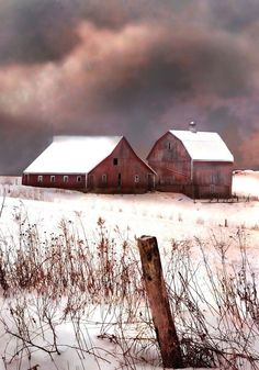Snowy Red Barns ~ Winter