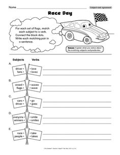 A language arts worksheet for subject-verb agreement! Subject Verb Agreement, Subject And Verb, Language Arts Worksheets, Race Day, Mailbox, English Language, Lesson Plans, Sentences, Classroom