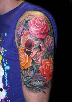 Sugar skull tattoo by Zhivko Baychev