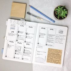 Minimalistic bullet journal weekly layout
