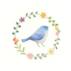 """Little Blue Bird and Wreath"" −RiLi, picture book, illustration, design ___ ""水色の小鳥と花の輪"" −リリ, 絵本, イラスト, デザイン ...... #illustration #bird #blue #wreath #イラスト #鳥 #青 #花輪"