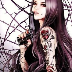 Rose girl pistol_Art by Zhang Xiao Bai Dark Fantasy Art, Anime Fantasy, Art Anime Fille, Anime Art Girl, Character Inspiration, Character Art, Art Mignon, Fantasy Tattoos, Arte Obscura