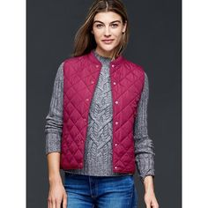 Gap Quilted Vest ($60) ❤ liked on Polyvore featuring outerwear, vests, regular, very berry, gap vest, tall vest, sleeveless waistcoat, slim fit vest and sleeveless vest