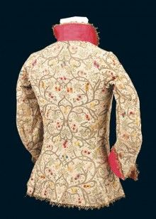 Embroidery Silk Ribbon Embroidered Jacket silk embroidery on linen collar and cuffs are silk 17th Century Clothing, 17th Century Fashion, 16th Century, Historical Costume, Historical Clothing, Jacobean Embroidery, Blackwork Embroidery, Ribbon Embroidery, Period Outfit