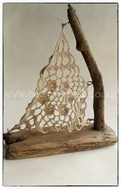Crochet Sail Driftwood Sail boat Small Handmade from locally gathered driftwood and crochet from 100 cotton. Nautical Anchor Beach front Home Interiors Lace Driftwood Flooring, Driftwood Shelf, Driftwood Projects, Driftwood Sculpture, Beach Crafts, Diy And Crafts, Arts And Crafts, Stick Art, Nature Crafts