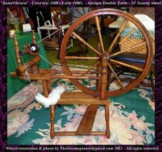 "Anna Viktoria - my 24"" antique circa late 1800's Norwegian inspired OAAK Double Table spinning wheel - Fully restored & spinning up a storm!"