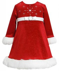 Bonnie Jean Girls Red Sparkle-Snowflake Bodice Glitter Velvet Santa Dress (3T)