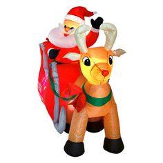 Inflatable Sleigh & Santa With Reindeer LED Light Up Christmas Yard Decoration  #SmartDealsMArket