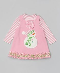 Another great find on #zulily! Pink Snowman Layered Dress - Infant, Toddler & Girls #zulilyfinds