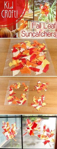 Een mooie scheuroefening voor de jongste kleuter. Alle gescheurde vloeipapiertjes tussen een sheetblad doen. Nadat het gelammineerd is kan de kleuter het herfstblad eventueel zelf uitknippen!