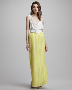 Love the top!  Ciel Drape-Neck Top & Pleated Maxi Skirt by Alice + Olivia at Bergdorf Goodman.