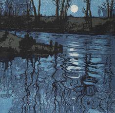 Hugo Henneberg (Austrian, 1863-1918)  The Blue Pond (Der Blaue Weiher), 1904  Linoleum cut on four plates (blue, purple, black, brown) on Japanese Paper, 29,4 x 29,8 cm