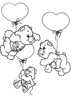 Bear Coloring Pages, Disney Coloring Pages, Adult Coloring Pages, Coloring Pages For Kids, Coloring Sheets, Coloring Books, Care Bears, Colorful Drawings, Colorful Pictures