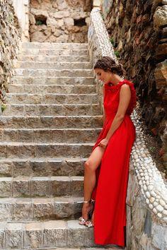 comprar online vestido largo rojo con escote en la espalda de fiesta boda evento coctel graduacion de apparentia collection