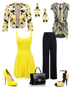 Black and yellow by jofobbester on Polyvore featuring polyvore fashion style Pianurastudio Miss Selfridge Zimmermann Michael Antonio Pierre Hardy Kate Spade clothing