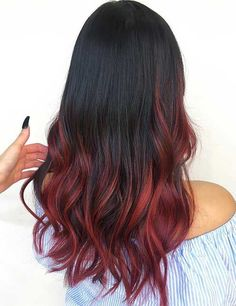 Balayage Hairstyles For Black Hair - Burgundy Red Balayage On Black Hair Balayage has become extremely popular. Here are 25 different look for balayage for black hair that have swept us off our feet. Red Ombre Hair, Ombre Hair Color, Hair Color For Black Hair, Cool Hair Color, Balayage On Black Hair, Black And Burgundy Hair, Red Hair Tips On Brown Hair, Dark Ombre Short Hair, Black Hair With Balayage