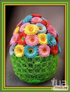 Paper Quilled  Easter Egg Flowers