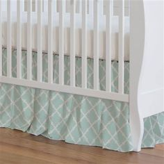 Icy Mint Lattice Crib Skirt Gathered made with care in the USA by Carousel Designs. Crib Mattress, Crib Bedding, Mint Nursery, Free Fabric Swatches, Watercolor Heart, Carousel Designs, Crib Skirts, Repeating Patterns, Future Baby