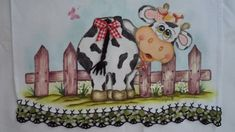 Pano de prato vaquinha Tole Painting, Fabric Painting, Pictures To Paint, Cute Pictures, Deer Farm, Precious Moments Coloring Pages, Cow Decor, Jar Art, Cards For Friends