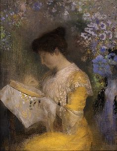 "⊰ Posing with Posies ⊱ paintings  illustrations of women  children with flowers - ""Madame Arthur Fontaine (Marie Escudier)"", 1901, by Odilon Redon (French, 1840-1916)"