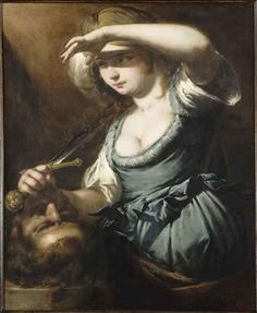 """Giovanni Battista Spinelli, """"Judith with the Head of Holofernes,"""" Oil on canvas, 80 x 68 cm, Musee de Beaux Arts, Nantes, France"""