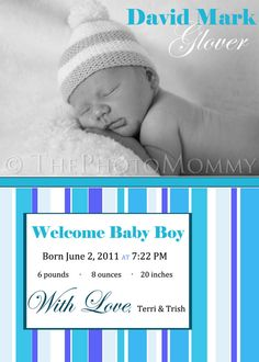 Printable Blue Stripes Baby Boy Birth by ThePhotoMommy on Etsy, $10.00
