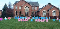 Say HAPPY BIRTHDAY with a Yard Card Fun greeting!  We just love this pink and blue combo. Birthday Yard Signs, Boy Birthday, Happy Birthday, Lawn Sign, Host A Party, Make Your Mark, Just Love, Special Day, Boy Or Girl