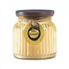 #10017239 Butter Cream Ribbed Jar Candle by sensationaldecorandmore