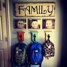 My kids Book bag hooks or Hangers back to school.