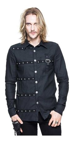 Steampunk Shirt Men Long Sleeve Black Slim Fit Single Breasted Top Shirts 2017 Spring Casual Turn-down Collar Blouses (XXXL, Black) Details: Button Collar Shirt, Collar Shirts, Men Shirts, Shirt Men, Black Long Sleeve Shirt, Long Sleeve Shirts, Gothic Shirts, Punk Outfits, Night Outfits