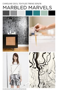 #carolinececiltextiles trend inspiration. Marble | Marbling | Textiles | Fashion | Mood Board | Pattern | Textile Trend | SS15 | SS16 | FW16 | SS17 | AW17 | FW17 | spring summer 2016 | autumn winter 2016 | textile design | color trend | megatrends |