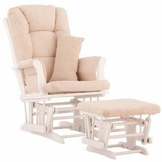 Everyone SWEARS I need a glider; we're going to start with our rocker and see. My biggest gripe about gliders is they are all an ugly wood frame. I want WHITE wood. Found a few; but limited options. I want to do black & white with these bright orange walls .... I suppose I could live with a beige cover?
