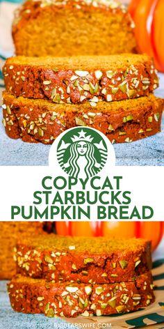 This homemade Copycat Starbucks Pumpkin Bread may just a easy pumpkin bread recipe that is better than the Starbucks pumpkin bread recipe! This is an easy, moist pumpkin bread that is topped with pumpkin seeds just like the pumpkin bread at Starbucks!