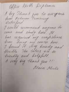 Thanks to our Office Skills graduate Maia on the very kind words Kind Words, Thankful, Student, Math, Sayings, Cute Words, Lyrics, Math Resources, Quotations