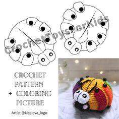 Educational toy rainbow LADYBUG, amigurumi crochet pattern PDF + coloring picture.