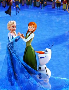Elsa, Anna and Olaf skating - Frozen Photo (37341545) - Fanpop