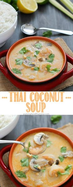 Make your favorite Thai take-out at home with this Thai Coconut Soup. A crazy delicious coconut broth with shrimp, mushrooms and rice - it's comfort food at its finest! <a href=http://www.yummyhealthyeasy.com/2015/03/thai-coconut-soup.html>Not supported by mobile. Click to view original post</a>