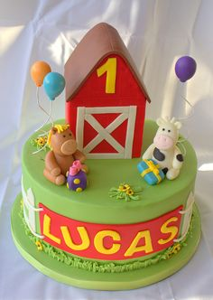 Barnyard Bithday Cake - we like for Jon's bday 1st Bday Cake, Baby Boy Birthday Cake, Bithday Cake, Happy Birthday Cake Images, 1st Boy Birthday, Farm Themed Party, Farm Party, Over The Hill Cakes, Farm Cake