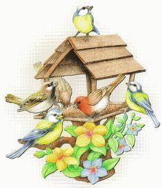 3D Animated GIF Glitter Graphics Birds   Animated GIFs » Nature » BIRD HOUSE