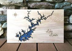 Lake Lanier, Georgia Custom Engraved 3-D Wood Map Wall Hanging – North Idaho Made Lake Lanier Georgia, Pine Needle Baskets, Pine Needles, Custom Engraving, Idaho, 3 D, Google Search, Wall, Gifts