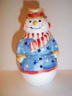 Fenton Glass PATRIOTIC STARS & STRIPES SNOWMAN Limited Gift Shop Exclusive 2012!