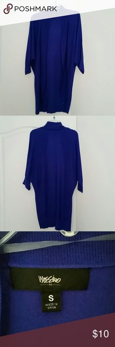 "Mossimo Sweater - Sz  S EUC - This blue sweater is cardigan style with 3/4 sleeves.  Hardly worn.  It is lightweight.  Made of nylon & rayon.  Back of sweater is longer than front.   Back measures approximately 29"". Tank & Necklace not included. Mossimo Sweaters"