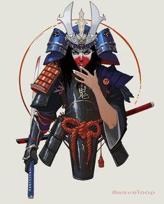 Samurai armor Commissioned by Female Samurai Art, Fantasy Samurai, Samurai Concept, Samurai Drawing, Samurai Artwork, Samurai Tattoo, Samurai Warrior, Oni Tattoo, Demon Tattoo