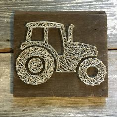 Tractor String Art (Cream) on Reclaimed/ Rustic Wood made to order