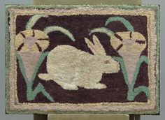 "Early 20th c. New England rabbit hooked rug. Stretcher mounted. 42"" x 30 1/2""."