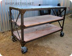 Industrial shelving from Vintage Industrial Industrial Kitchen Island, Industrial Console Tables, Industrial Design Furniture, Industrial Shelving, Funky Furniture, Furniture Projects, Rustic Furniture, Furniture Making, Vintage Furniture