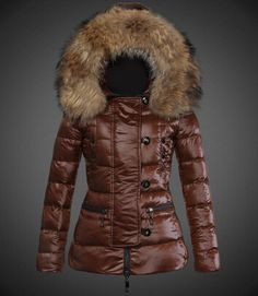 4ea0136befca 2014 Moncler Short Women Down Jackets Coffee Long-sleeved Big Fur Collar